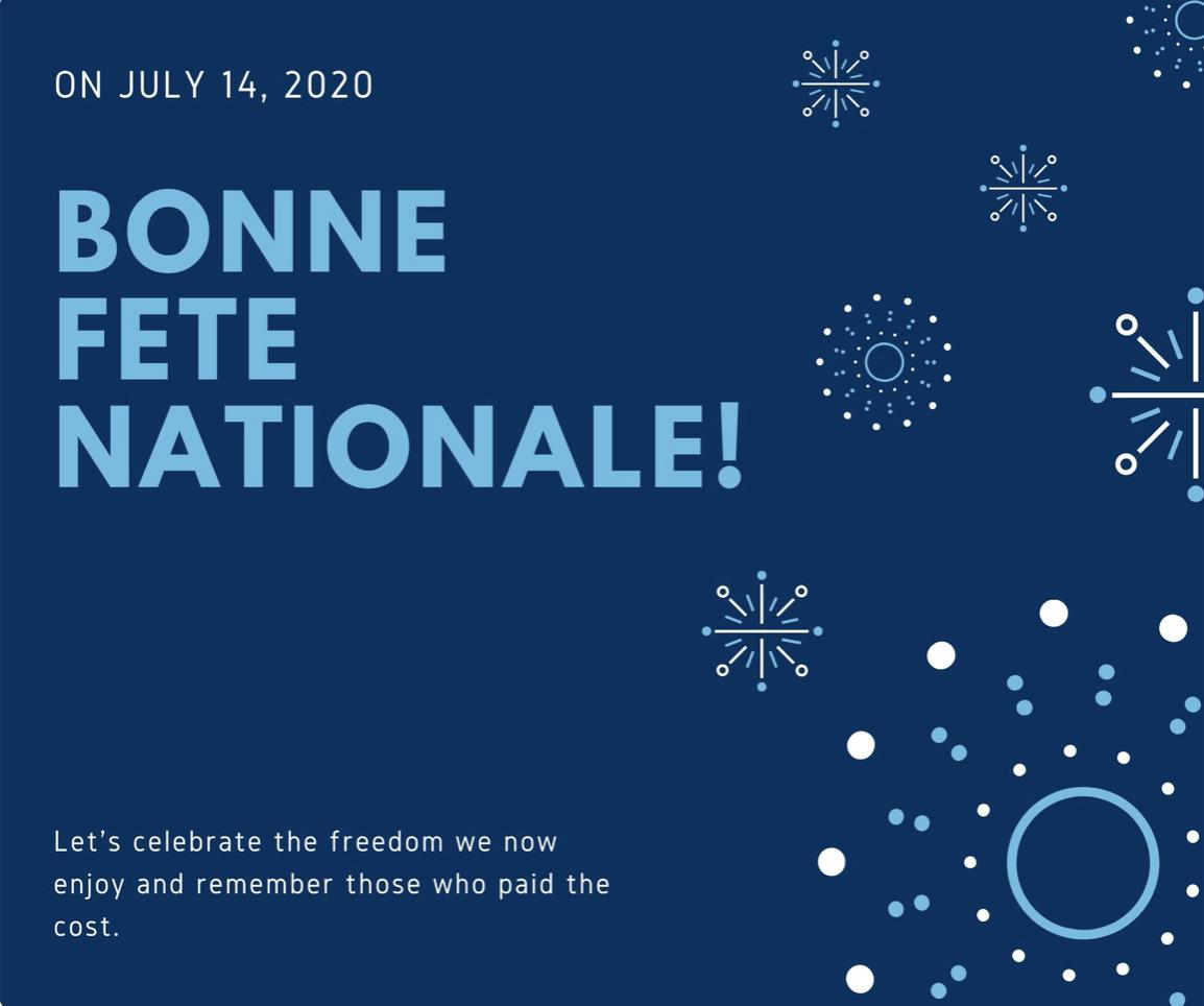 Blue Fireworks Greeting Bastille Day Facebook Post