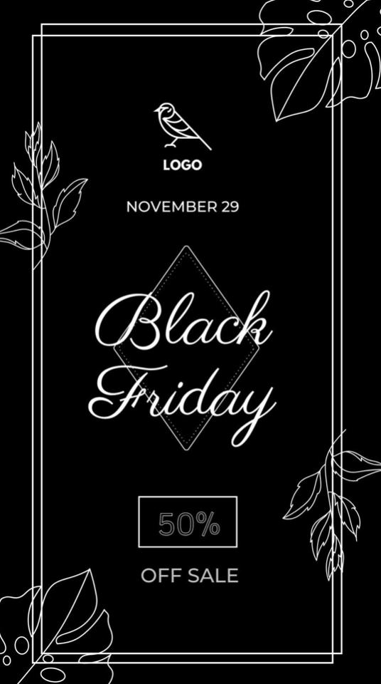 Dark Monochrome Black Friday Elegant Sales Instagram Story