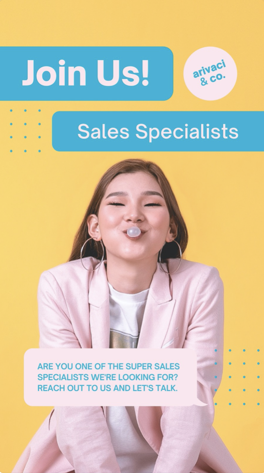 Yellow Blue and Pink Woman Pop of Element Hiring Announcements